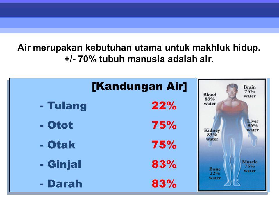 [Kandungan Air] - Tulang 22% - Otot 75% - Otak 75% - Ginjal 83%